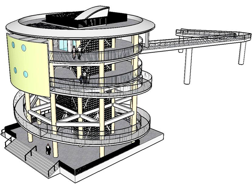 高知・中土佐町に円柱型の津波避難タワー