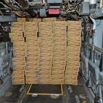 MV-22Bオスプレイ機内に積み込まれた物資 =23日午後、熊本県の陸上自衛隊高遊原分屯地
