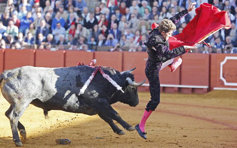 「セビリアの春祭り」でひらりとかわす闘牛士