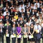 就任式典では台湾と外交関係を持つ22カ国の代表や59カ国の友好国などから約700人が出席。日本からは12人の国会議員を含む252人の大型来賓団が参加した