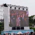 5月20日、台湾総統府内で行われる総統、副総統の就任宣誓式の様子が巨大スクリーンで紹介された