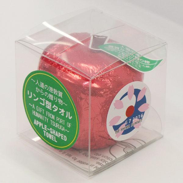 記念品として各国の代表団にリンゴ型タオル