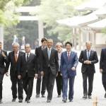 安倍首相、伊勢神宮前で各国首脳をお出迎え