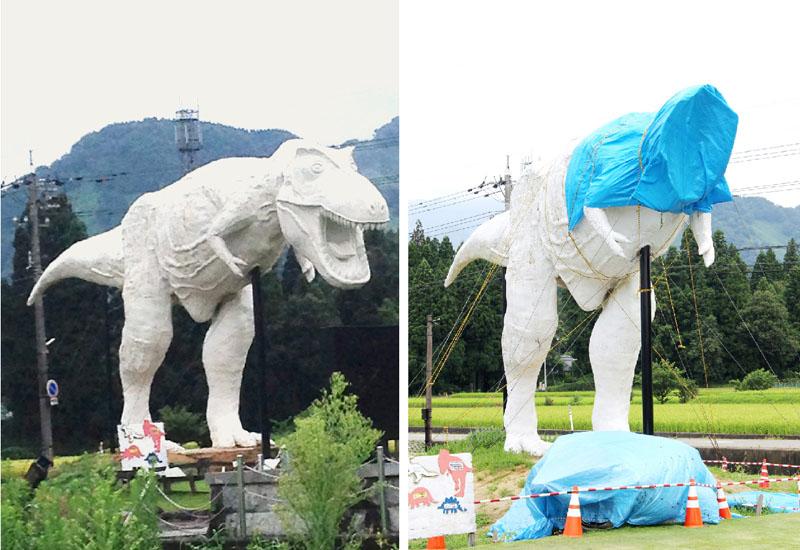 白い恐竜「ホワイトザウルス」の頭部が落下