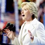 民主党大統領候補の指名受諾演説に臨むヒラリー・クリントン氏(UPI)