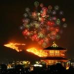 古都・奈良の夜空を焦がす、若草山の山焼き