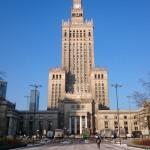 ワルシャワにある文化学宮殿を正面からの眺め