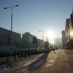 ワルシャワ旧市街への道のりと朝日 マイナス14度の世界