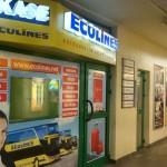 EcoLinesのオフィス ラトビア・リガ中央市場前のバスステーションにて