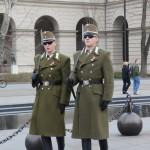 国会議事堂前に常に立っているハンガリーの兵隊の行進の様子
