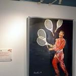 吉本興業所属のタレントによる美術展も開催された=那覇市HAPINAHA