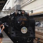 高崎駅入線。乗客や鉄道マニアで黒山の人だかり。
