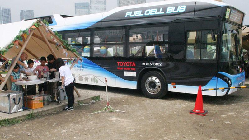 全国初、燃料電池バスのバスツアーを行う