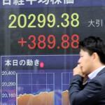 東京株の終値が2万0299円と大幅続伸