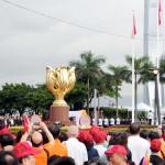 7月1日、香港の湾仔(ワンチャイ)にある金紫荊広場で行われた国旗掲揚式