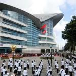 7月1日午前、香港中心部の湾仔(ワンチャイ)の金紫荊広場で行われた香港返還18周年の国旗掲揚式