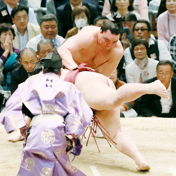 日馬富士が張り手で返礼、稀勢の里を退ける