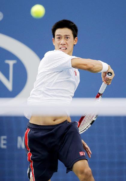 全米テニス準々決勝で、錦織圭が初の4強入り