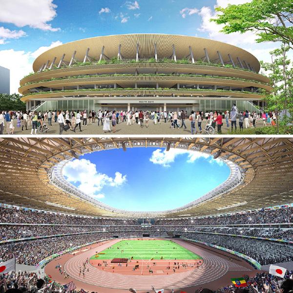 公表された新国立競技場A案の外観(写真上)とスタジアム内観のイメージ図(技術提案書よりJSC提供)