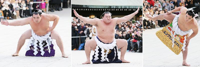 大相撲の3横綱が新春恒例の奉納土俵入り