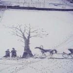 雪の校庭に描いた「風と共に去りぬ」の名場面